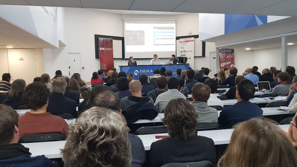 Photo cybersecurity conference Ecole de Guerre Economique / Club Cyber AEGE / Airbus Cybersecurity Eric Chambareau Freani