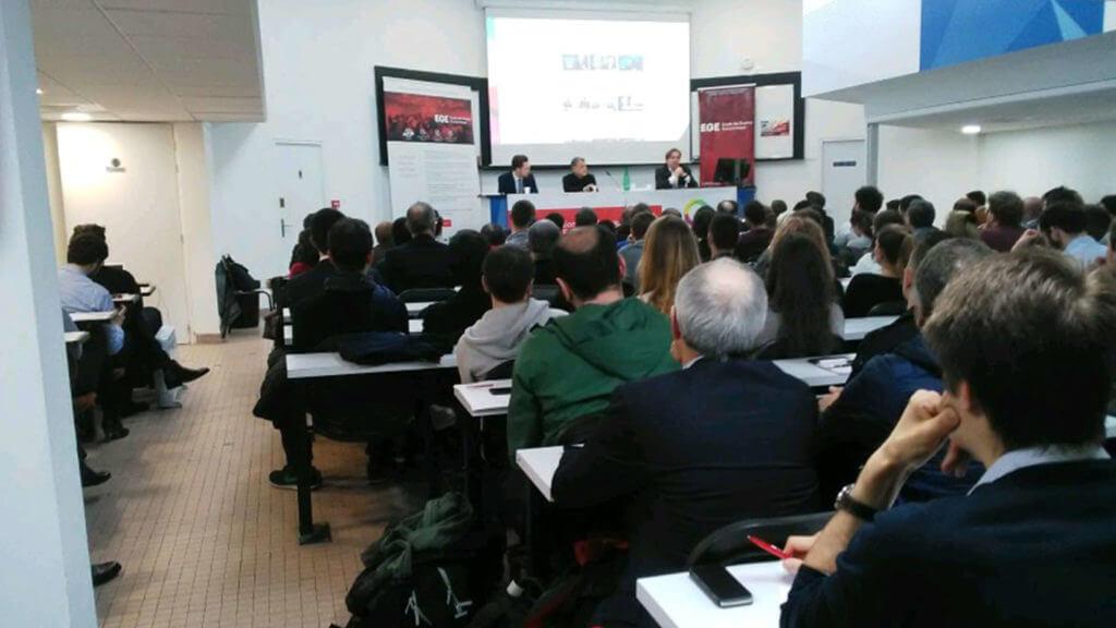 Photo cybersecurity conference Ecole de Guerre Economique Club Cyber AEGE Qwant Freani Harbulot Leandri